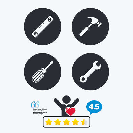 bubble level: Screwdriver and wrench key tool icons. Bubble level and hammer sign symbols. Star vote ranking. Client like and think bubble. Quotes with message.