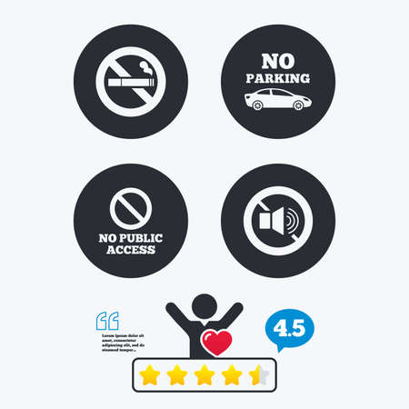 private access: Stop smoking and no sound signs. Private territory parking or public access. Cigarette symbol. Speaker volume. Star vote ranking. Client like and think bubble. Quotes with message. Illustration