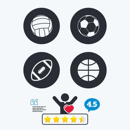 pelota de futbol: bolas del deporte iconos. Voleibol, baloncesto, fútbol y signos de fútbol americano. juegos de deportes de equipo. clasificación voto estrella. Cliente como y pensar burbuja. Cotizaciones con el mensaje.