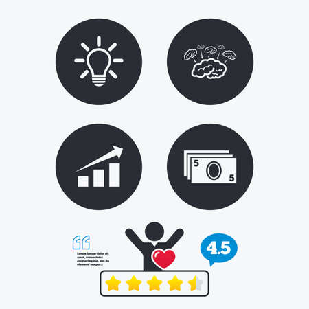 energy ranking: Chart with arrow, brainstorm icons. Cash money and lamp idea signs. Scheme and Diagram symbol. Star vote ranking. Client like and think bubble. Quotes with message. Illustration