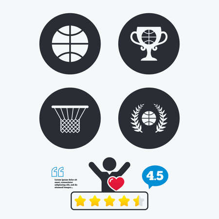 star award: Basketball sport icons. Ball with basket and award cup signs. Laurel wreath symbol. Star vote ranking. Client like and think bubble. Quotes with message.