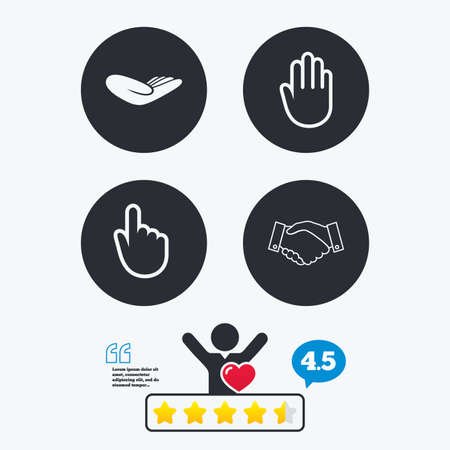 vote here: Hand icons. Handshake successful business symbol. Click here press sign. Human helping donation hand. Star vote ranking. Client like and think bubble. Quotes with message.