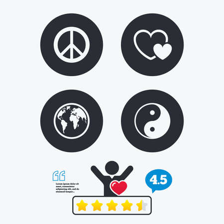World globe icon. Ying yang sign. Hearts love sign. Peace hope. Harmony and balance symbol. Star vote ranking. Client like and think bubble. Quotes with message.