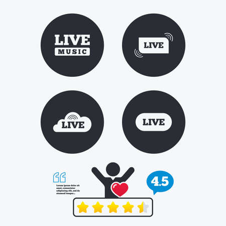 live stream sign: Live music icons. Karaoke or On air stream symbols. Cloud sign. Star vote ranking. Client like and think bubble. Quotes with message.