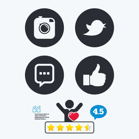 think up: Hipster photo camera icon. Like and Chat speech bubble sign. Hand thumb up. Bird symbol. Star vote ranking. Client like and think bubble. Quotes with message. Illustration