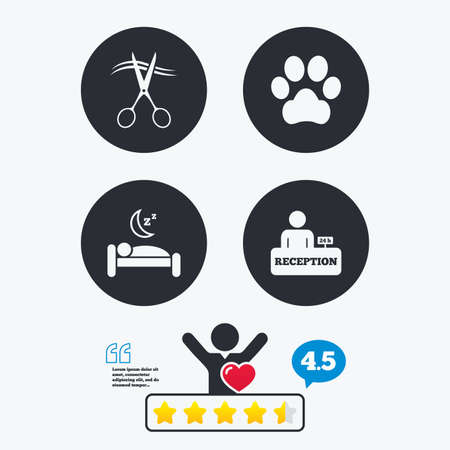 quiet room: Hotel services icons. With pets allowed in room signs. Hairdresser or barbershop symbol. Reception registration table. Quiet sleep. Star vote ranking. Client like and think bubble. Quotes with message. Illustration