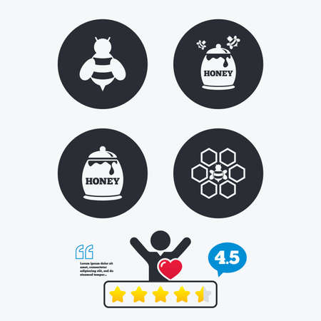 honeycomb like: Honey icon. Honeycomb cells with bees symbol. Sweet natural food signs. Star vote ranking. Client like and think bubble. Quotes with message. Illustration