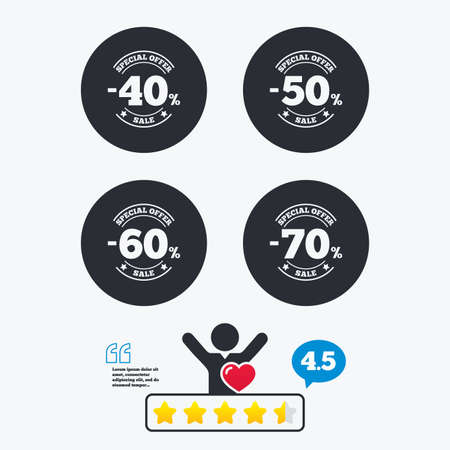 50 to 60: Sale discount icons. Special offer stamp price signs. 40, 50, 60 and 70 percent off reduction symbols. Star vote ranking. Client like and think bubble. Quotes with message.