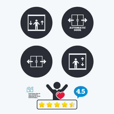 think up: Automatic door icons. Elevator symbols. Auto open. Person symbol with up and down arrows. Star vote ranking. Client like and think bubble. Quotes with message.
