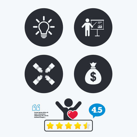 standing lamp: Presentation billboard icon. Dollar cash money and lamp idea signs. Man standing with pointer. Teamwork symbol. Star vote ranking. Client like and think bubble. Quotes with message.