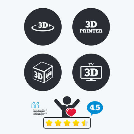 television icon: 3d technology icons. Printer, rotation arrow sign symbols. Print cube. Star vote ranking. Client like and think bubble. Quotes with message.