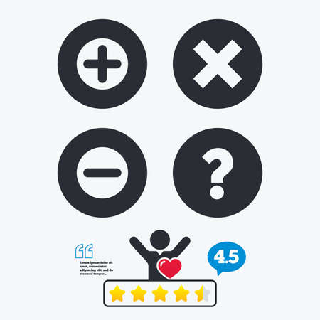 enlarge: Plus and minus icons. Delete and question FAQ mark signs. Enlarge zoom symbol. Star vote ranking. Client like and think bubble. Quotes with message.