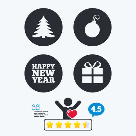 happy client: Happy new year icon. Christmas tree and gift box sign symbols. Star vote ranking. Client like and think bubble. Quotes with message.