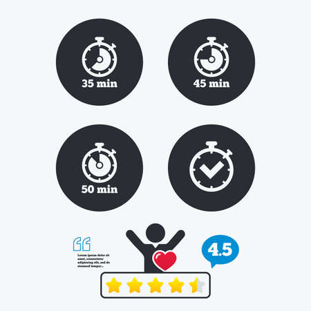45 50: Timer icons. 35, 45 and 50 minutes stopwatch symbols. Check or Tick mark. Star vote ranking. Client like and think bubble. Quotes with message. Illustration