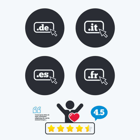 like it: Top-level internet domain icons. De, It, Es and Fr symbols with cursor pointer. Unique national DNS names. Star vote ranking. Client like and think bubble. Quotes with message.