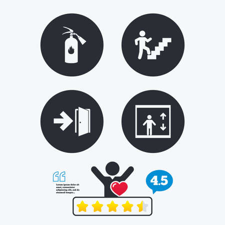 think through: Emergency exit icons. Fire extinguisher sign. Elevator or lift symbol. Fire exit through the stairwell. Star vote ranking. Client like and think bubble. Quotes with message. Illustration