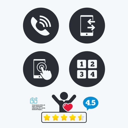 touch screen phone: Phone icons. Touch screen smartphone sign. Call center support symbol. Cellphone keyboard symbol. Incoming and outcoming calls. Star vote ranking. Client like and think bubble. Quotes with message.