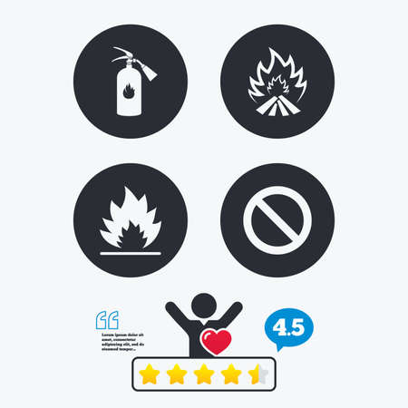 flame like: Fire flame icons. Fire extinguisher sign. Prohibition stop symbol. Star vote ranking. Client like and think bubble. Quotes with message.