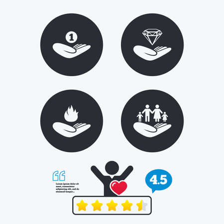 star of life: Helping hands icons. Financial money savings, family life insurance symbols. Diamond brilliant sign. Fire protection. Star vote ranking. Client like and think bubble. Quotes with message. Illustration