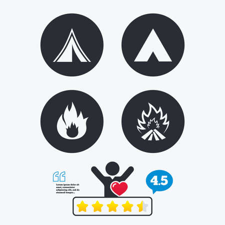 flame like: Tourist camping tent icons. Fire flame sign symbols. Star vote ranking. Client like and think bubble. Quotes with message.