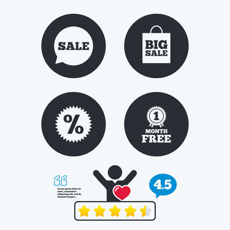 medal like: Sale speech bubble icon. Discount star symbol. Big sale shopping bag sign. First month free medal. Star vote ranking. Client like and think bubble. Quotes with message. Illustration