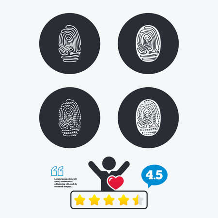 biometric: Fingerprint icons. Identification or authentication symbols. Biometric human dabs signs. Star vote ranking. Client like and think bubble. Quotes with message.