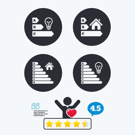 energy ranking: Energy efficiency icons. Lamp bulb and house building sign symbols. Star vote ranking. Client like and think bubble. Quotes with message.