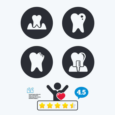 gingivitis: Dental care icons. Caries tooth sign. Tooth endosseous implant symbol. Parodontosis gingivitis sign. Star vote ranking. Client like and think bubble. Quotes with message.