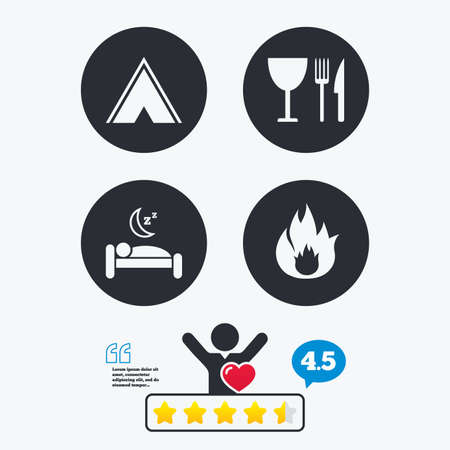 breakfast in bed: Food, sleep, camping tent and fire icons. Knife, fork and wineglass. Hotel or bed and breakfast. Road signs. Star vote ranking. Client like and think bubble. Quotes with message.