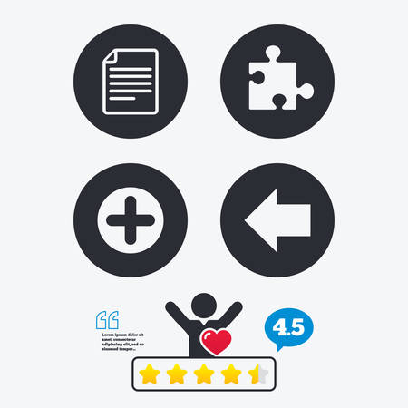 puzzle corners: Plus add circle and puzzle piece icons. Document file and back arrow sign symbols. Star vote ranking. Client like and think bubble. Quotes with message.