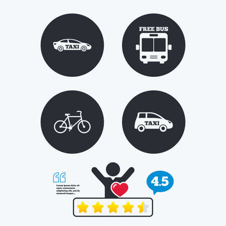 free vote: Public transport icons. Free bus, bicycle and taxi signs. Car transport symbol. Star vote ranking. Client like and think bubble. Quotes with message.