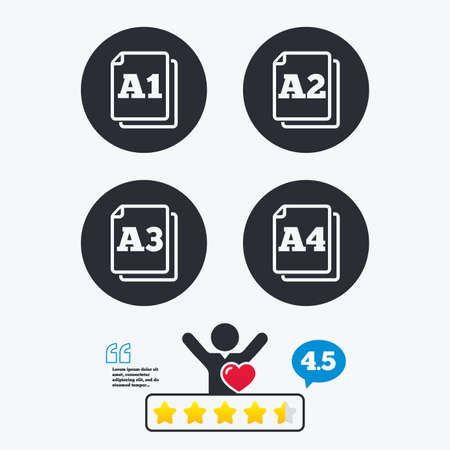 a1: Paper size standard icons. Document symbols. A1, A2, A3 and A4 page signs. Star vote ranking. Client like and think bubble. Quotes with message. Illustration