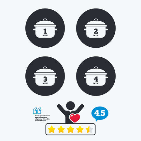 Cooking pan icons. Boil 1, 2, 3 and 4 minutes signs. Stew food symbol. Star vote ranking. Client like and think bubble. Quotes with message. Illustration