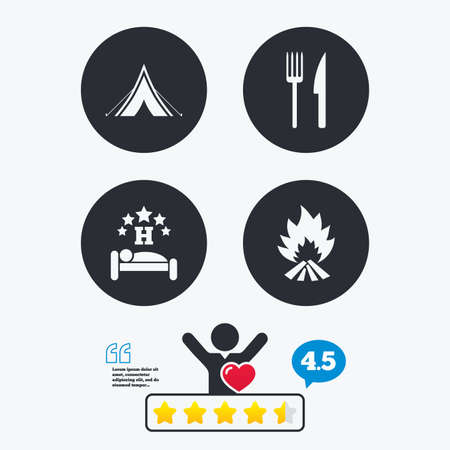 breakfast in bed: Food, sleep, camping tent and fire icons. Knife and fork. Hotel or bed and breakfast. Road signs. Star vote ranking. Client like and think bubble. Quotes with message.
