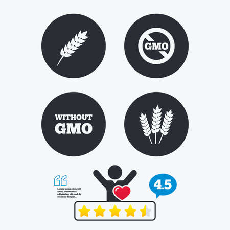 genetically modified crops: Agricultural icons. Gluten free or No gluten signs. Without Genetically modified food symbols. Star vote ranking. Client like and think bubble. Quotes with message.