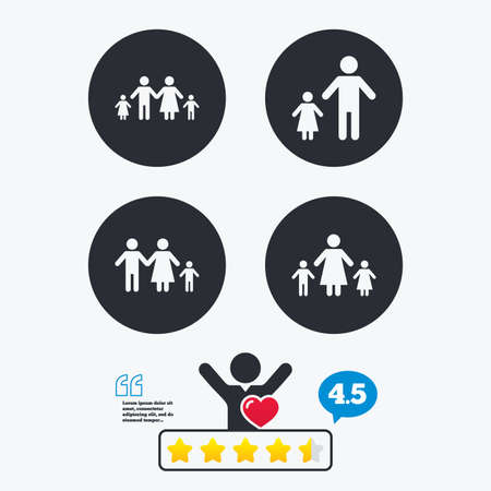 divorce: Family with two children icon. Parents and kids symbols. One-parent family signs. Mother and father divorce. Star vote ranking. Client like and think bubble. Quotes with message.