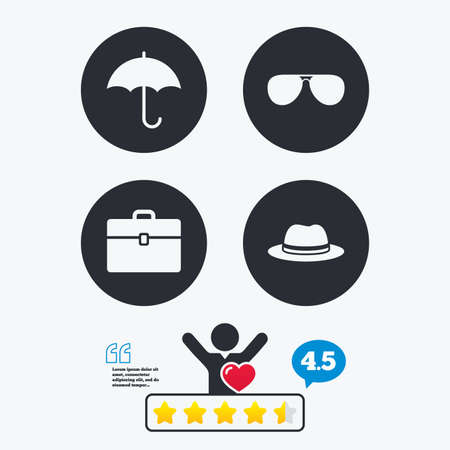 business case: Clothing accessories icons. Umbrella and sunglasses signs. Headdress hat with business case symbols. Star vote ranking. Client like and think bubble. Quotes with message. Illustration