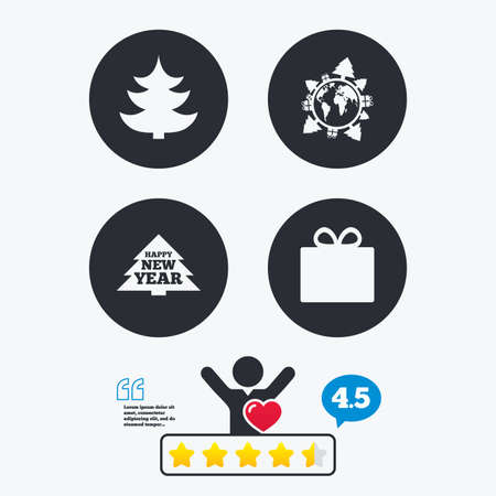 happy client: Happy new year icon. Christmas trees and gift box signs. World globe symbol. Star vote ranking. Client like and think bubble. Quotes with message.