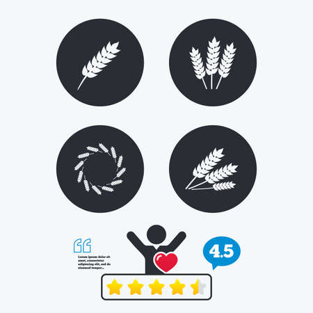 free vote: Agricultural icons. Gluten free or No gluten signs. Wreath of Wheat corn symbol. Star vote ranking. Client like and think bubble. Quotes with message. Illustration
