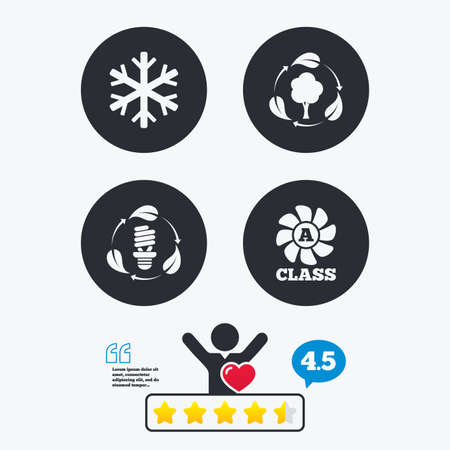 energy ranking: Fresh air icon. Forest tree with leaves sign. Fluorescent energy lamp bulb symbol. A-class ventilation. Air conditioning symbol. Star vote ranking. Client like and think bubble. Quotes with message.