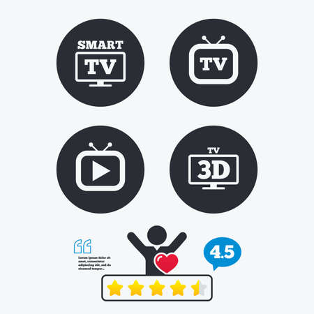 3d mode: Smart 3D TV mode icon. Widescreen symbol. Retro television and TV table signs. Star vote ranking. Client like and think bubble. Quotes with message.