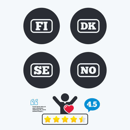 se: Language icons. FI, DK, SE and NO translation symbols. Finland, Denmark, Sweden and Norwegian languages. Star vote ranking. Client like and think bubble. Quotes with message.