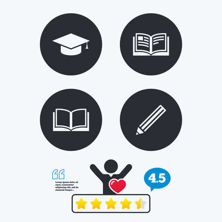 higher: Pencil and open book icons. Graduation cap symbol. Higher education learn signs. Star vote ranking. Client like and think bubble. Quotes with message.