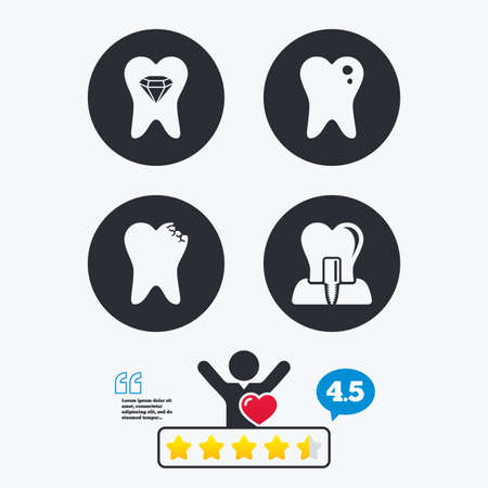stomatologist: Dental care icons. Caries tooth sign. Tooth endosseous implant symbol. Tooth crystal jewellery. Star vote ranking. Client like and think bubble. Quotes with message.