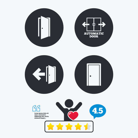 arrow emergency exit: Automatic door icon. Emergency exit with arrow symbols. Fire exit signs. Star vote ranking. Client like and think bubble. Quotes with message.