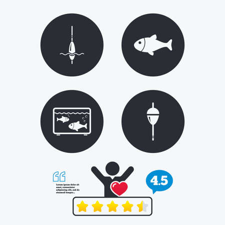 Fishing icons. Fish with fishermen hook sign. Float bobber symbol. Aquarium icon. Star vote ranking. Client like and think bubble. Quotes with message. Illustration