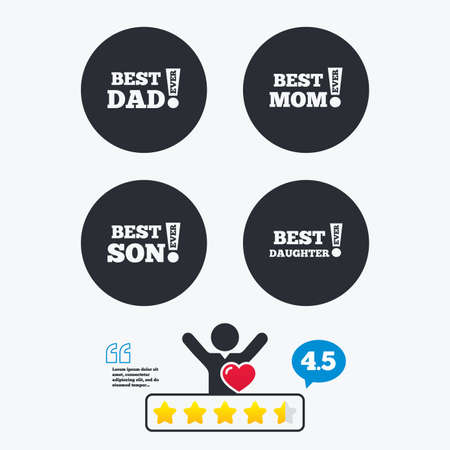 dad and son: Best mom and dad, son and daughter icons. Awards with exclamation mark symbols. Star vote ranking. Client like and think bubble. Quotes with message.