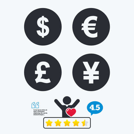 currency symbol: Dollar, Euro, Pound and Yen currency icons. USD, EUR, GBP and JPY money sign symbols. Star vote ranking. Client like and think bubble. Quotes with message. Illustration