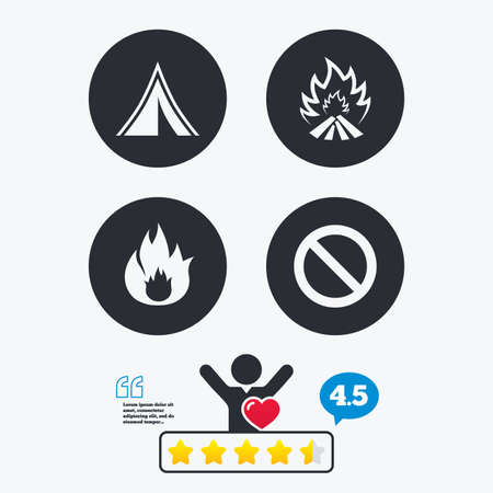 flame like: Tourist camping tent icon. Fire flame and stop prohibition sign symbols. Star vote ranking. Client like and think bubble. Quotes with message.