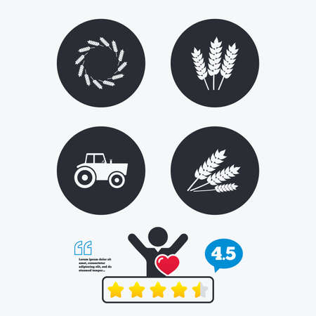 free vote: Agricultural icons. Wheat corn or Gluten free signs symbols. Tractor machinery. Star vote ranking. Client like and think bubble. Quotes with message.